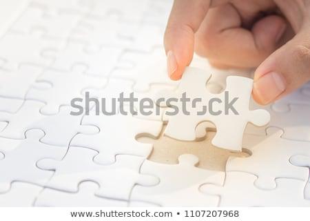 vier · puzzelstukjes · geschikt · samen · verschillend · gekleurd - stockfoto © make