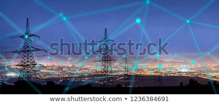 alta · tensione · elettrica · cielo · blu · nube · rete · industria - foto d'archivio © kyolshin