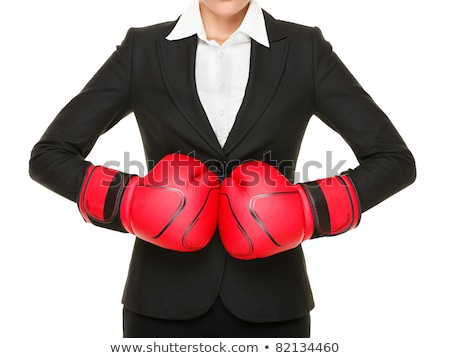 Black&white portrait of a girl with red boxing gloves Stock photo © Nejron