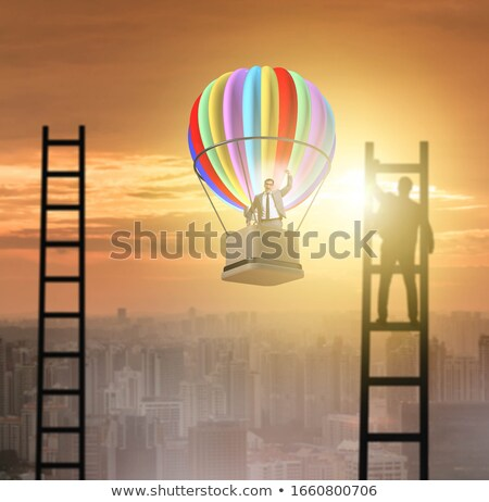 Stairway to the freedom and balloon Stock photo © tiero