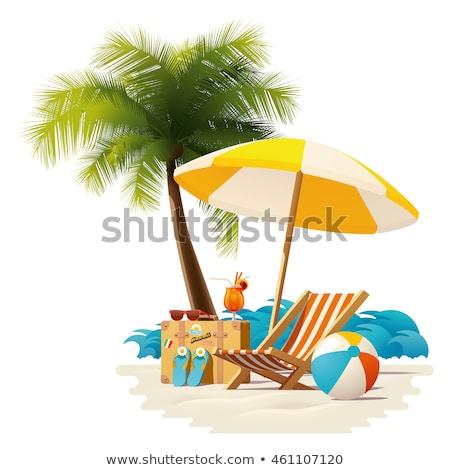 Napozószék csomagok citromsárga színes bőröndök tengerpart Stock fotó © flipfine