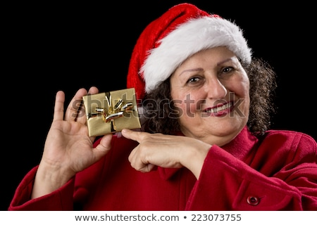 Happy Old Lady in Red with Wrapped Golden Gifts Stock photo © leowolfert