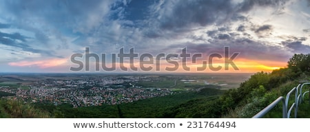 Stock photo: City of Nitra from Above at Sunset