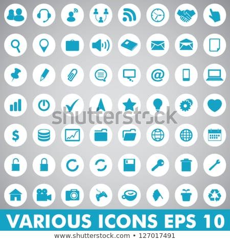Letöltés kék vektor webes ikon szett gomb Stock fotó © rizwanali3d