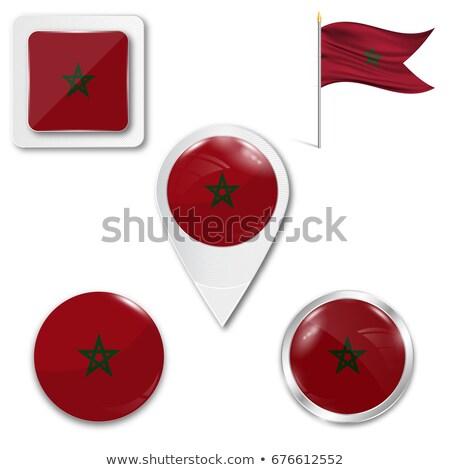 Praça metal botão bandeira Marrocos isolado Foto stock © MikhailMishchenko