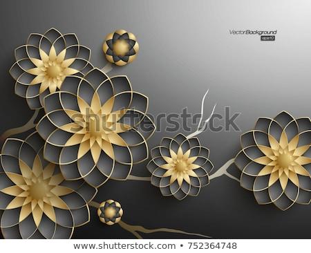 black 3d geometric abstract flowers stock photo © zebra-finch
