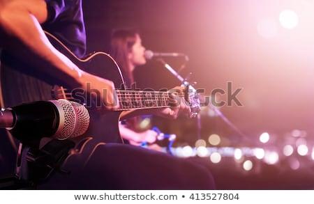 Adam oynama elektrik bas yaşamak müzik Stok fotoğraf © Ainat
