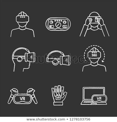 caméra · vidéo · icône · craie · dessinés · à · la · main · tableau · noir - photo stock © rastudio
