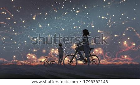 Pár illusztráció arc fény éjszaka lámpa Stock fotó © adrenalina