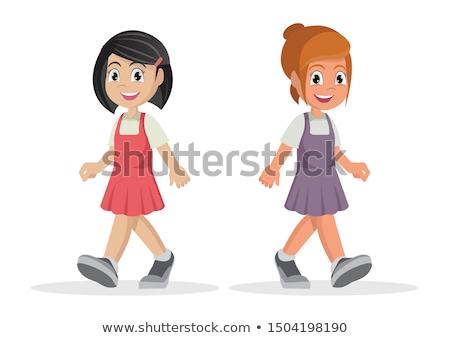 улыбаясь девушки ходьбе книга Сток-фото © filipw