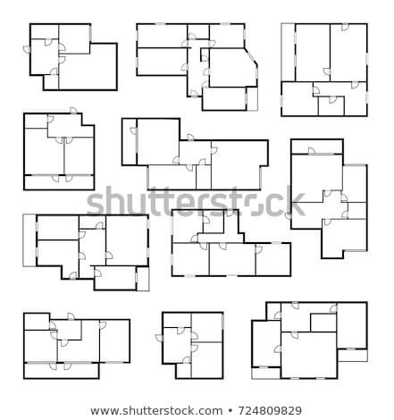 Blue floor plan, illustration Stock photo © Morphart