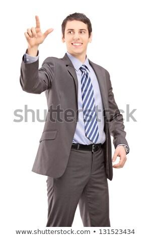 Сток-фото: счастливым · бизнесмен · костюм · прикасаться · что-то · деловые · люди
