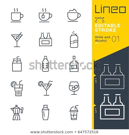 питьевой соломы линия икона веб Сток-фото © RAStudio