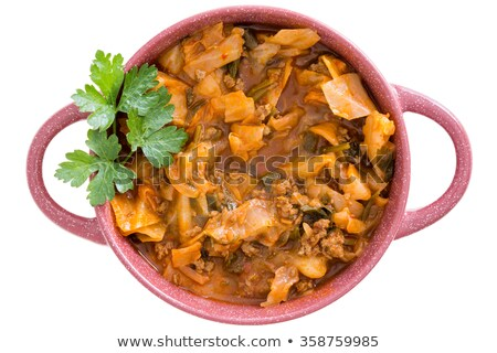 Nutritional cabbage soup with ground beef Stock photo © ozgur