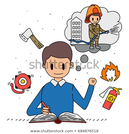 A drawing of a fireman rescuing a young girl Stock photo © bluering