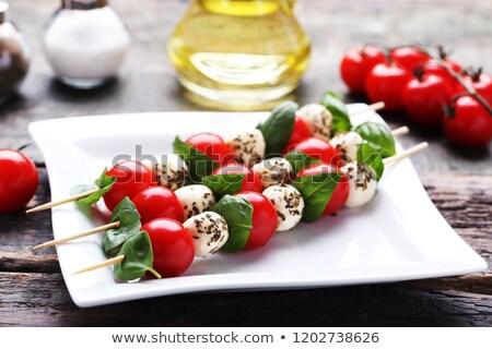 カプレーゼサラダ 黒 食品 葉 背景 赤 ストックフォト © vankad
