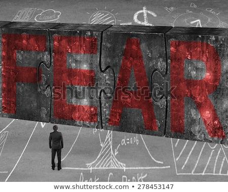 Quebra-cabeça palavra não medo peças do puzzle escritório Foto stock © fuzzbones0