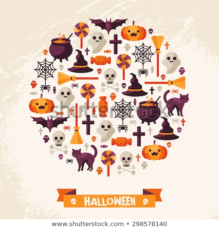 Halloween flat icons on orange background Stock photo © punsayaporn