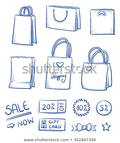 fashion discount coupon with line illustration of handbag on rose quartz and baby blue background stock photo © liliwhite