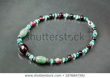 Kvarc nyaklánc karkötő gyöngyök izolált fehér Stock fotó © homydesign
