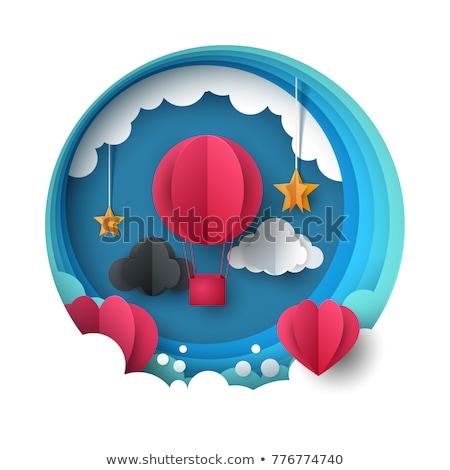 Valentine eps 10 mavi gökyüzü bulutlar vektör Stok fotoğraf © beholdereye