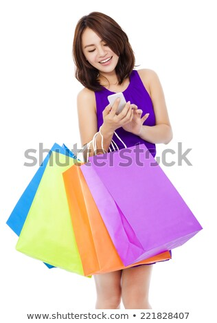 Asian vrouw warm kleding telefoon Stockfoto © deandrobot