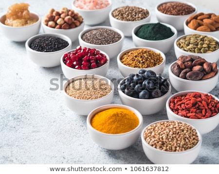 egészséges · étel · friss · gyümölcs · bogyók · granola · joghurt · zöld - stock fotó © m-studio