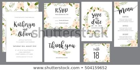 Esküvő lakosztály meghívó virág dekoráció mentés Stock fotó © SArts
