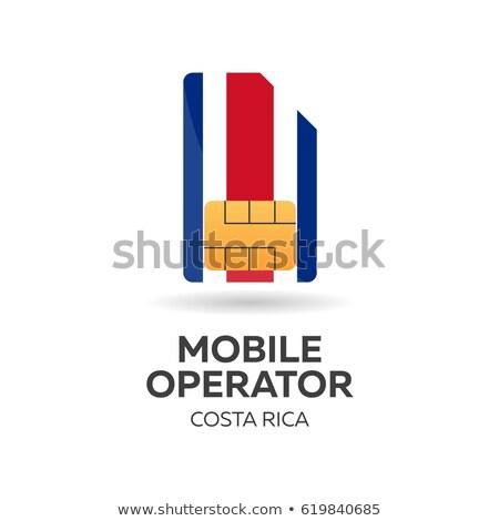 Costa Rica mobile operator. SIM card with flag. Vector illustration. Stock photo © Leo_Edition