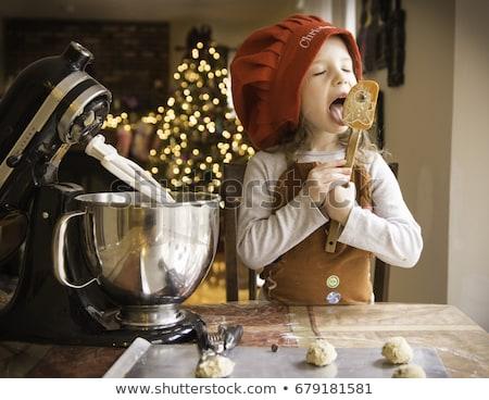 mooi · meisje · eten · christmas · cookies · drinken · thee - stockfoto © tekso