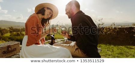 Romântico casal vidro vinho parque Foto stock © wavebreak_media