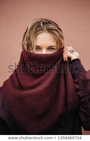 неузнаваемый женщину покрытый красный ткань портрет Сток-фото © julenochek