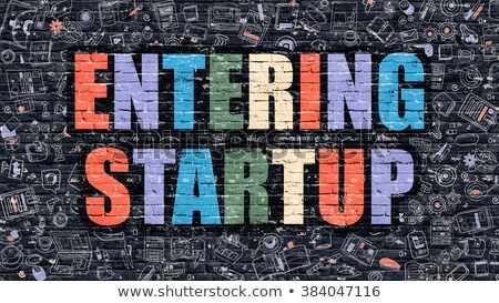 Multicolor Entering Startup on Dark Brickwall. Doodle Style. Stock photo © tashatuvango