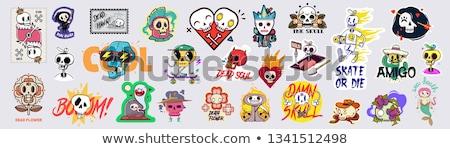 Zdjęcia stock: Halloween · wektora · cartoon · czaszki · kości · ikona