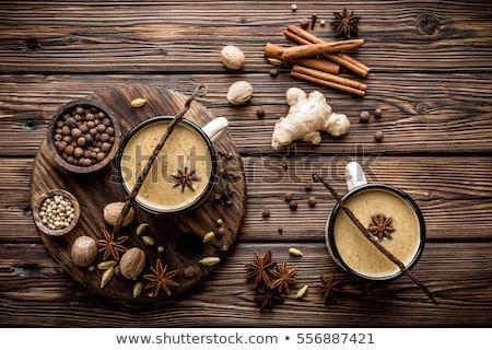Tea hagyományos indiai tej fűszer üveg Stock fotó © Lana_M