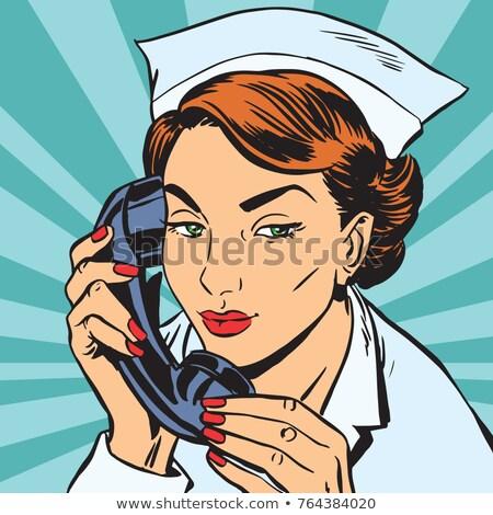 Avatar retrato enfermera teléfono arte pop retro Foto stock © studiostoks