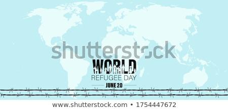20 monde réfugiés jour calendrier carte de vœux Photo stock © Olena