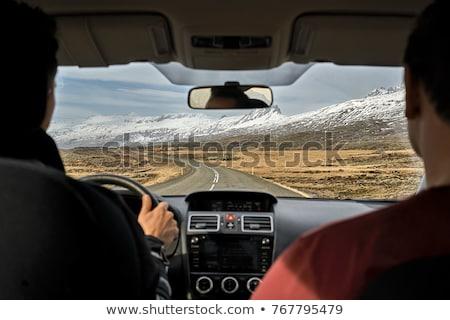 dombok · útszéli · piros · kő · autópálya · fű - stock fotó © bezikus