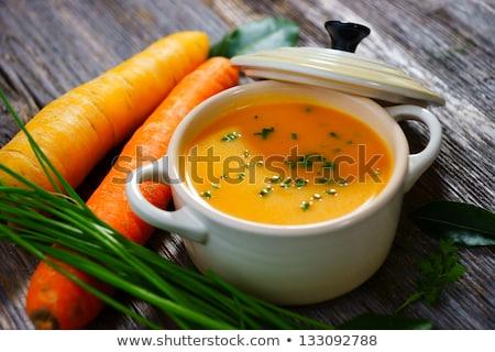 Házi készítésű sárgarépa leves pár tálak vegetáriánus Stock fotó © mpessaris