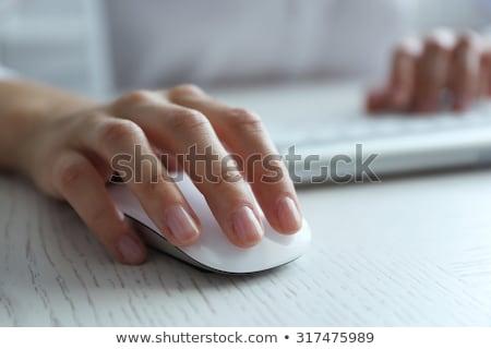 Vrouwelijke hand computermuis geïsoleerd doorzichtigheid muis Stockfoto © Sonya_illustrations