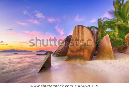 island beach in indian ocean on seychelles Stock photo © dolgachov