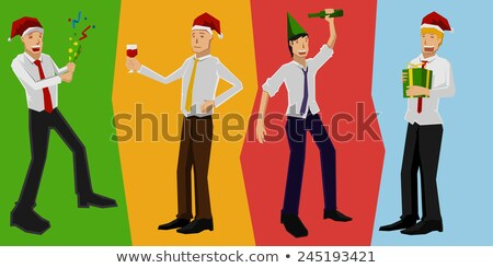 drunk man and santa claus vector corporate christmas party at restaurant or office relaxing celebr stock photo © pikepicture