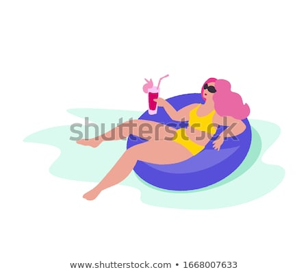 Vector illustration of woman floating on water Stock photo © Sonya_illustrations
