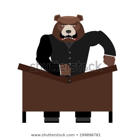 Grande miedo tener jefe mesa agresivo Foto stock © popaukropa
