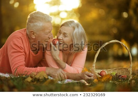 Smiling older woman at picnic Stock photo © IS2