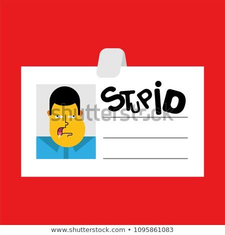 Знак работник глупый изолированный бизнеса Cartoon Сток-фото © popaukropa