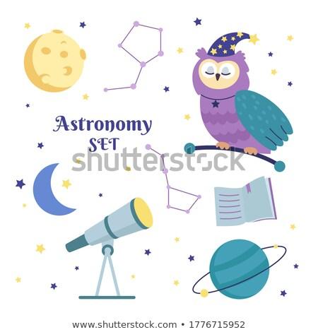 Funny Sowa teleskop ilustracja ptaków gwiazdki Zdjęcia stock © adrenalina