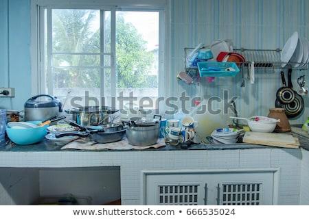Salissant cuisine illustration maison signe propre Photo stock © bluering