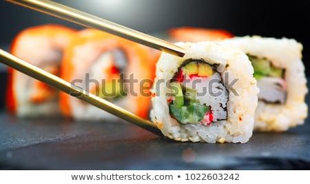 Sushi rulo Kaliforniya gıda yalıtılmış Stok fotoğraf © Cipariss