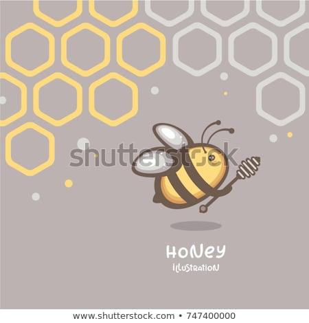 Cartoon Pszczoła ul tekst ilustracja skrzydełka Zdjęcia stock © cthoman